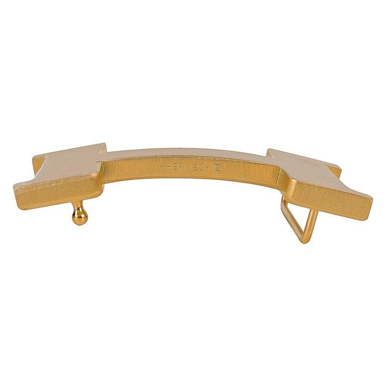 Hermes Belt H Constance 42mm Reversible Etain / Black Brushed Gold Buckle 90 For Sale 2