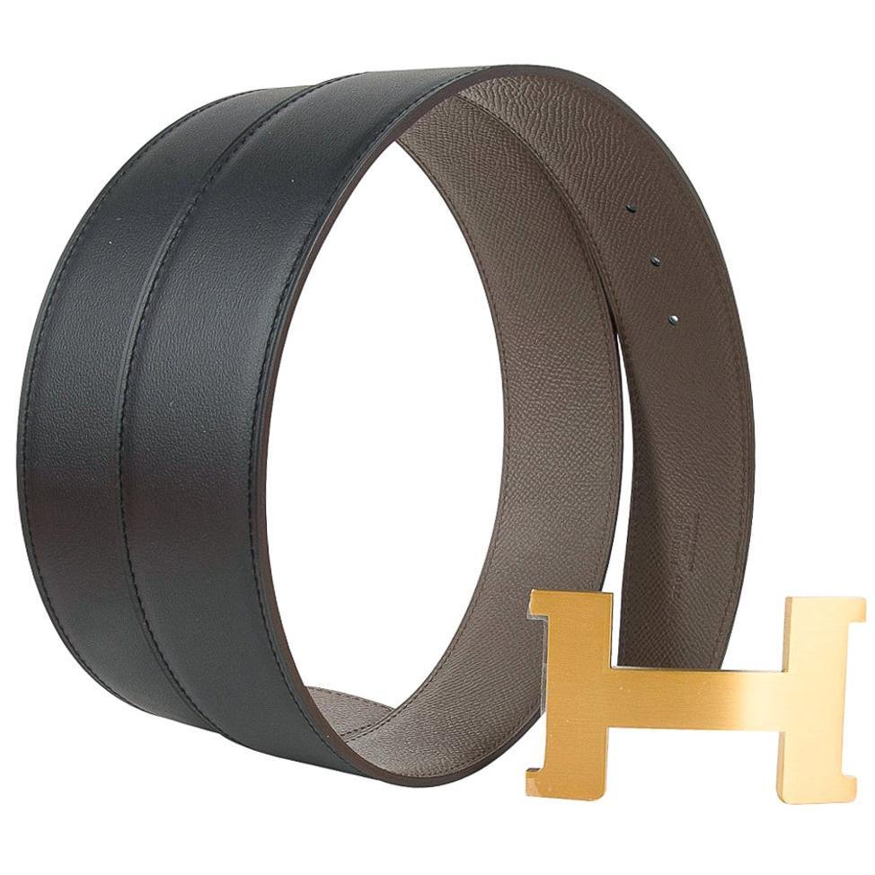 Hermes Belt H Constance 42mm Reversible Etain / Black Brushed Gold Buckle 90