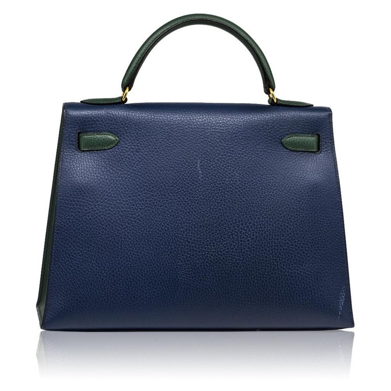 Hermès Bi-colour 32cm Kelly Sellier Bag In Good Condition For Sale In London, GB