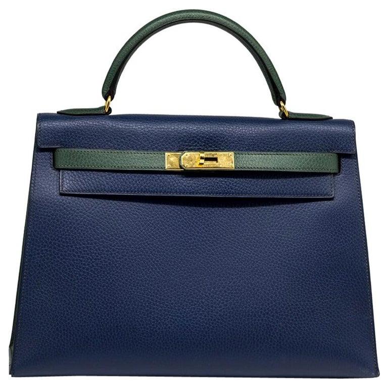 Hermès Bi-colour 32cm Kelly Sellier Bag For Sale