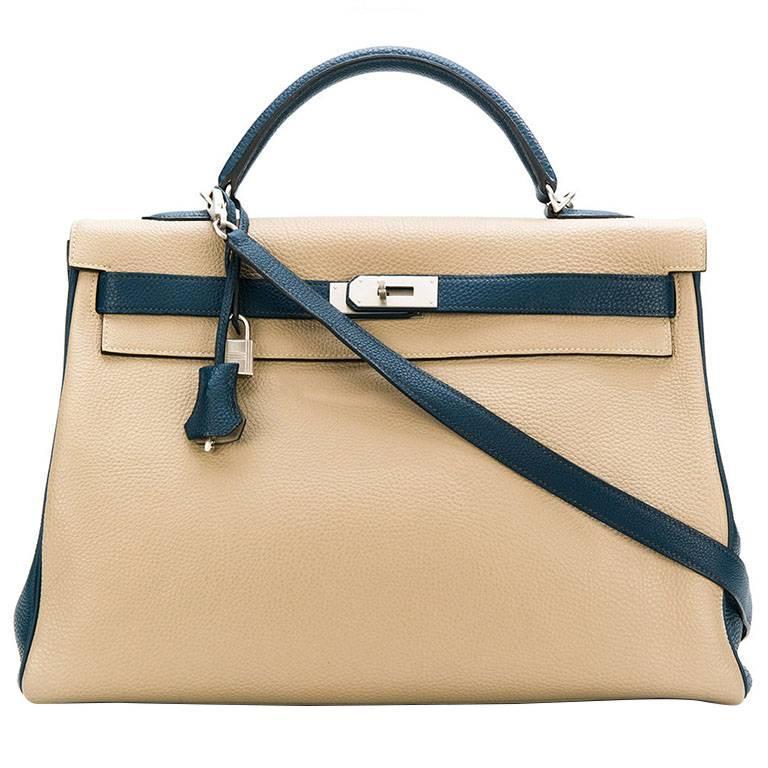 b2f8d2faa2 Hermès Special Order Bi-colour Togo Leather 40cm Kelly Bag For Sale at  1stdibs
