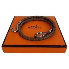 Hermes Bicolor Leather Palladium Jumbo Hook Double Bracelet with Box
