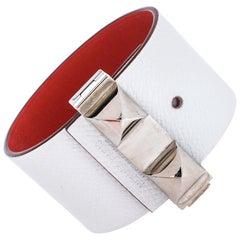 Hermès Bicolor Leather Palladium Plated Illusion Bracelet PM