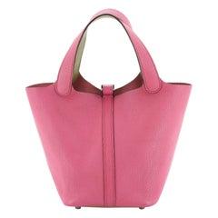 Hermes Bicolor Picotin Bag Chevre de Coromandel PM