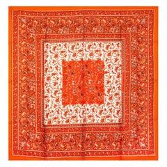 Hermes bight orange red CHASSE EN INDE 90 silk twill Scarf
