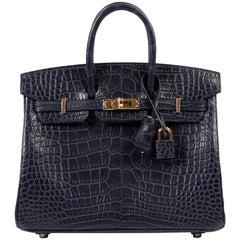 NEW Hermès Birkin 25 Alligator Mississippiensis Mat Bleu Indigo GHW