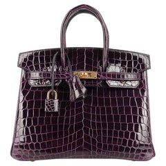 Hermes Birkin 25 Bag Aubergine Crocodile Gold Hardware