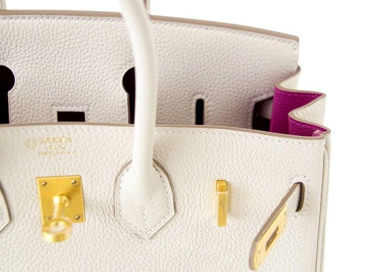Beige Hermes Birkin 25 Bag HSS Beton w/ Rose Poupre Pink Brushed Gold Hardware Togo For Sale