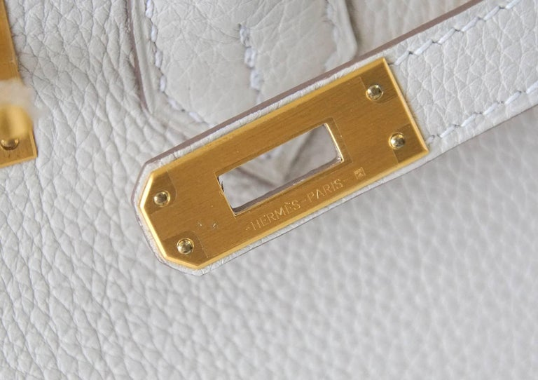 Hermes Birkin 25 Bag HSS Beton w/ Rose Poupre Pink Brushed Gold Hardware Togo In New Condition For Sale In Miami, FL