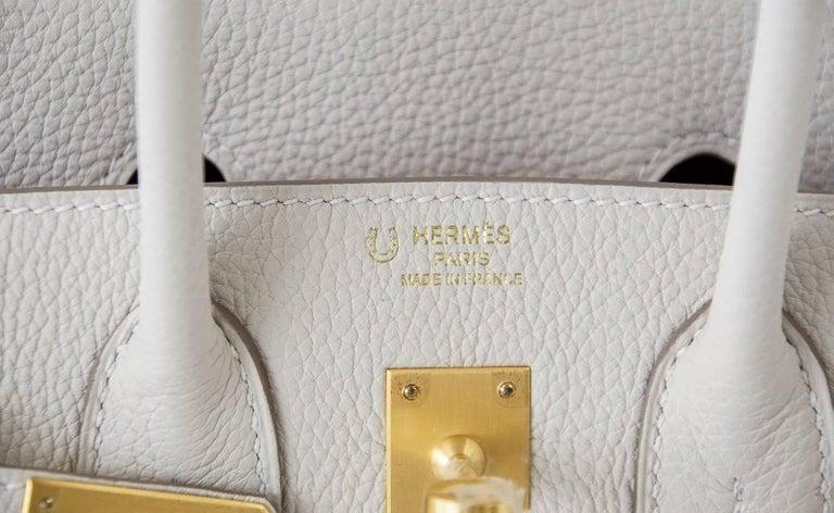 Women's Hermes Birkin 25 Bag HSS Beton w/ Rose Poupre Pink Brushed Gold Hardware Togo For Sale