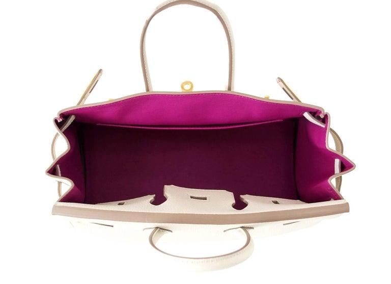 Hermes Birkin 25 Bag HSS Beton w/ Rose Poupre Pink Brushed Gold Hardware Togo For Sale 1