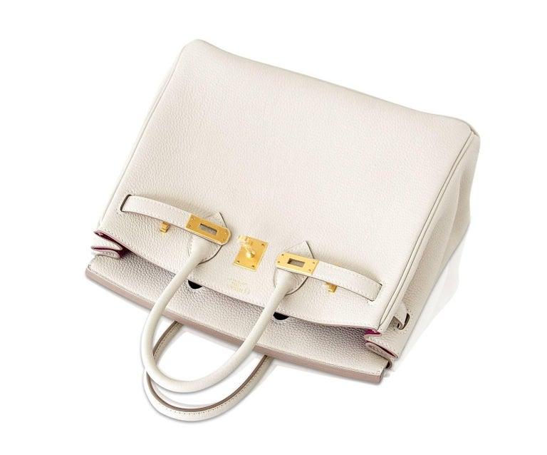 Hermes Birkin 25 Bag HSS Beton w/ Rose Poupre Pink Brushed Gold Hardware Togo For Sale 2
