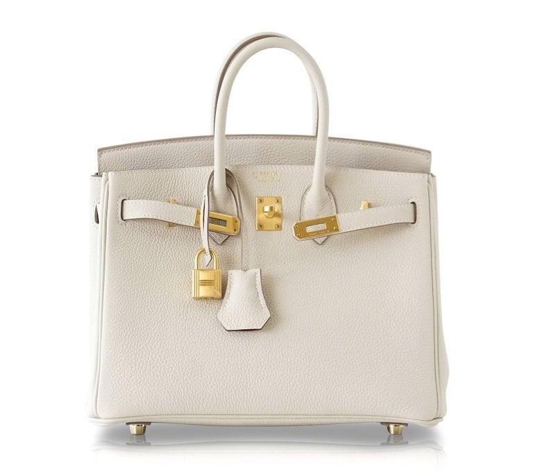 Hermes Birkin 25 Bag HSS Beton w/ Rose Poupre Pink Brushed Gold Hardware Togo For Sale 3