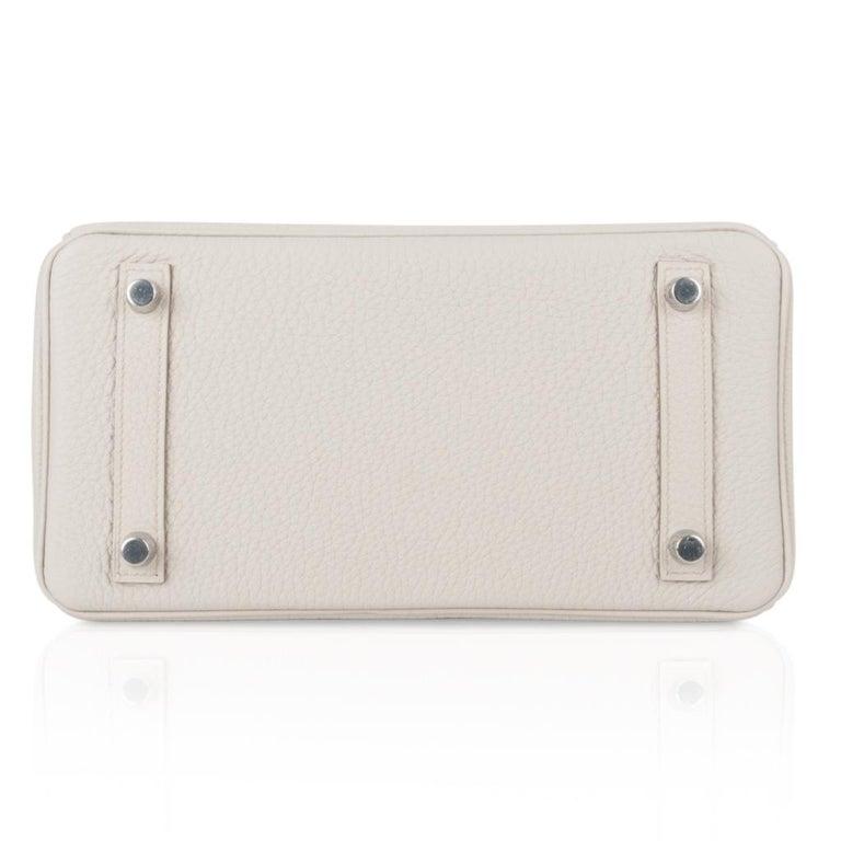 Hermes Birkin 25 Bag Beton Togo Palladium Hardware For Sale 5