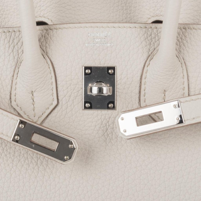 Hermes Birkin 25 Bag Beton Togo Palladium Hardware In New Condition For Sale In Miami, FL
