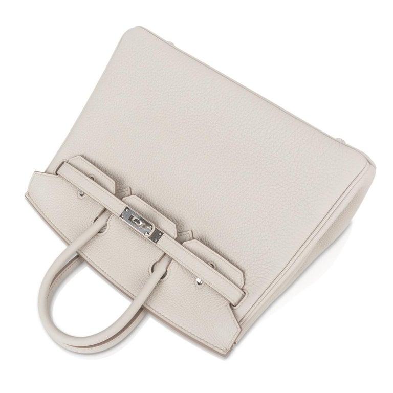 Hermes Birkin 25 Bag Beton Togo Palladium Hardware For Sale 1