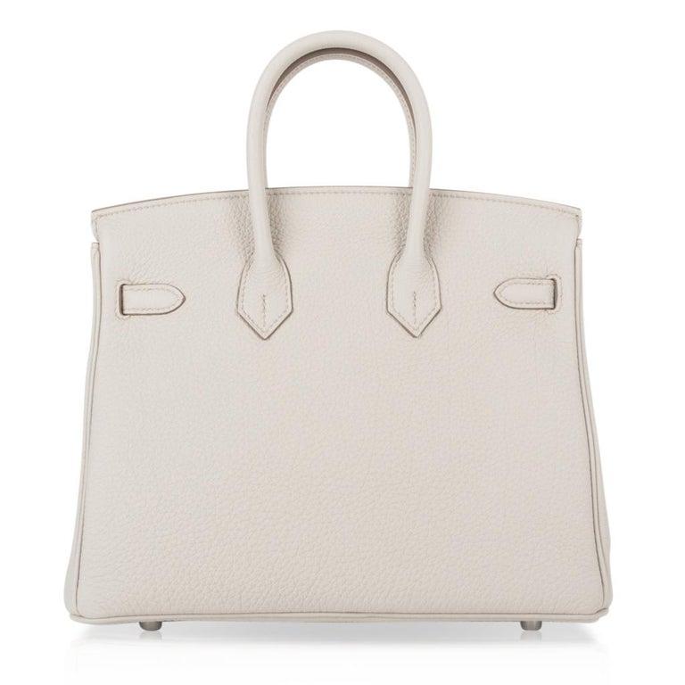 Hermes Birkin 25 Bag Beton Togo Palladium Hardware For Sale 4