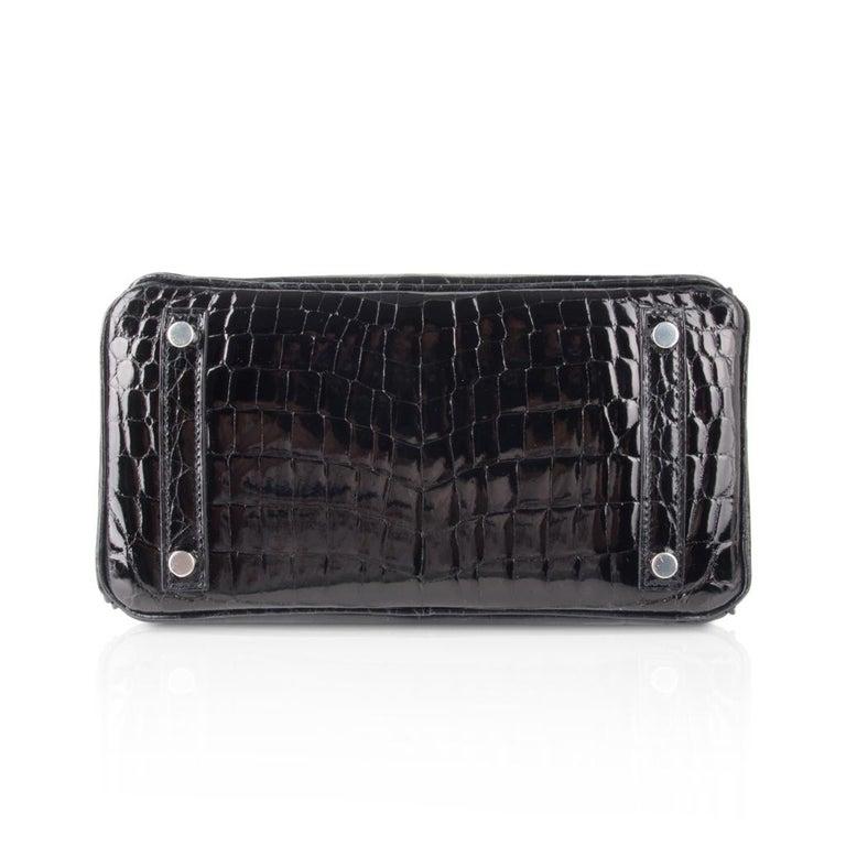 Hermes Birkin 25 Bag Black Crocodile Lisse Palladium Hardware For Sale 6