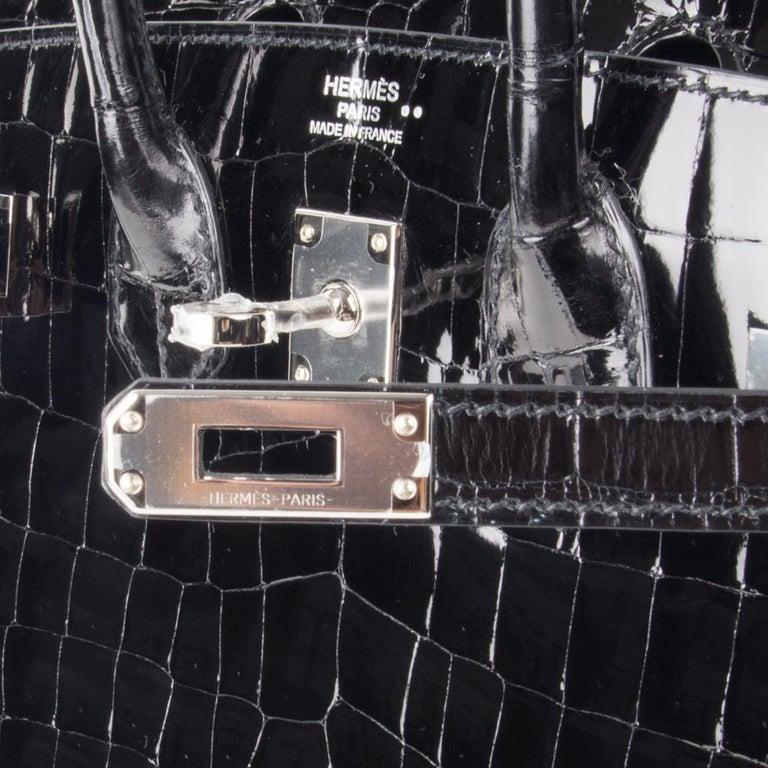Hermes Birkin 25 Bag Black Crocodile Lisse Palladium Hardware In New Condition For Sale In Miami, FL