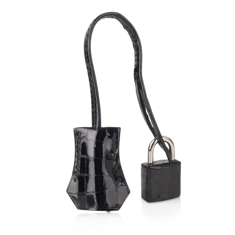 Women's Hermes Birkin 25 Bag Black Crocodile Lisse Palladium Hardware For Sale