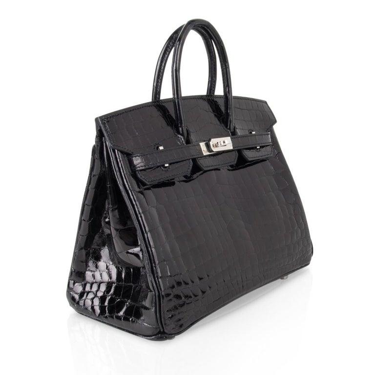 Hermes Birkin 25 Bag Black Crocodile Lisse Palladium Hardware For Sale 1