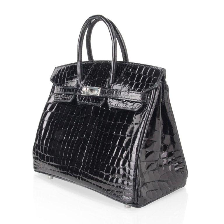 Hermes Birkin 25 Bag Black Crocodile Lisse Palladium Hardware For Sale 3