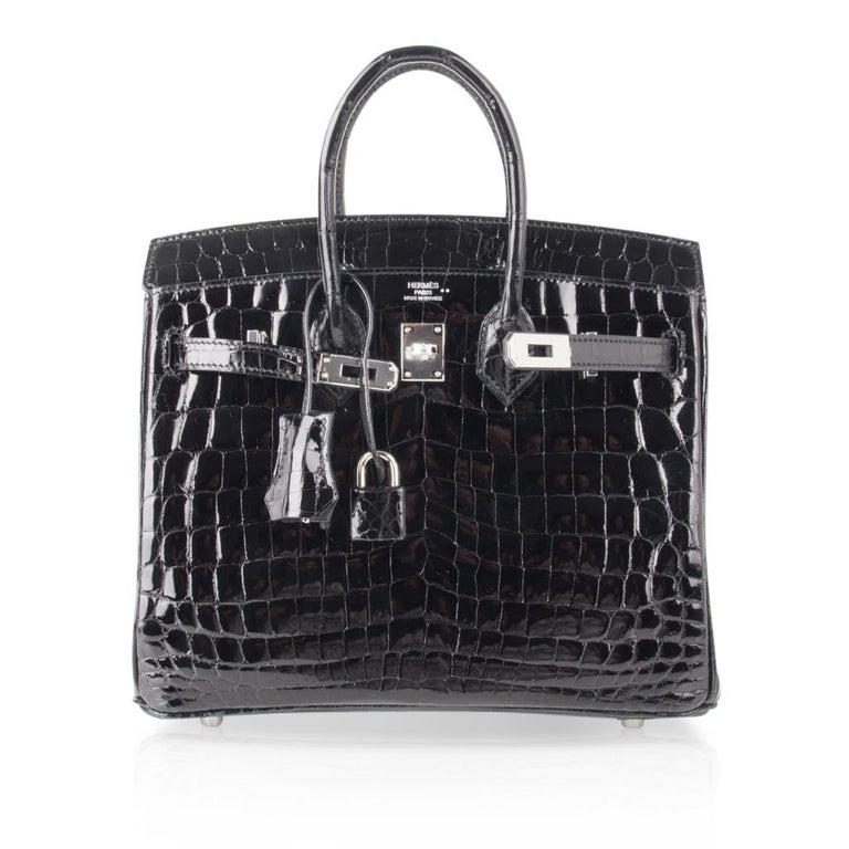 Hermes Birkin 25 Bag Black Crocodile Lisse Palladium Hardware For Sale 4