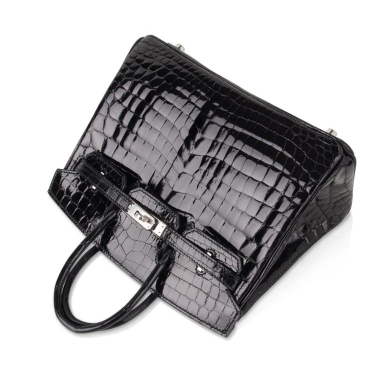Hermes Birkin 25 Bag Black Crocodile Lisse Palladium Hardware For Sale 2