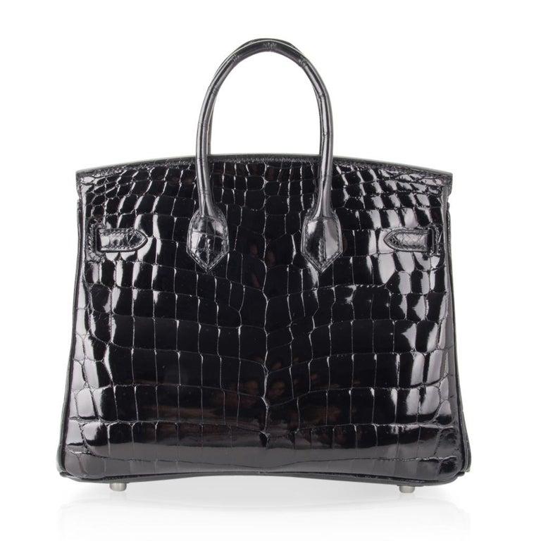 Hermes Birkin 25 Bag Black Crocodile Lisse Palladium Hardware For Sale 5
