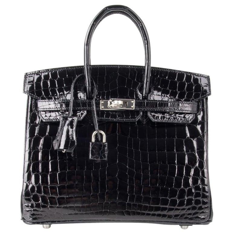 Hermes Birkin 25 Bag Black Crocodile Lisse Palladium Hardware For Sale