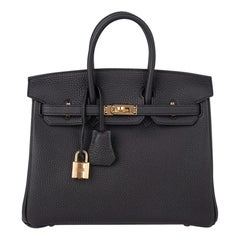 Hermes Birkin 25 Bag Black Togo Leather Gold Hardware