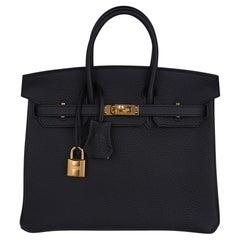 Hermes Birkin 25 Bag Black Togo Leather Gold Hardware