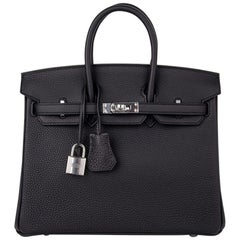 Hermes Birkin 25 Bag Black Togo Palladium Hardware