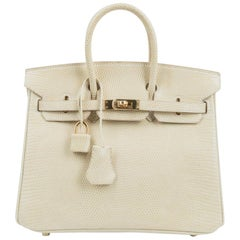 Hermes Birkin 25 Bag Blanc Casse Lizard Gold Hardware Very Rare