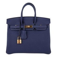 Hermes Birkin 25 Bag Bleu Encre Gold Hardware Togo Leather new