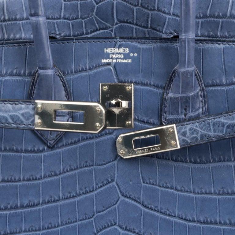 Gray Hermes Birkin 25 Bag Blue Brighton Matte Crocodile Palladium Hardware For Sale