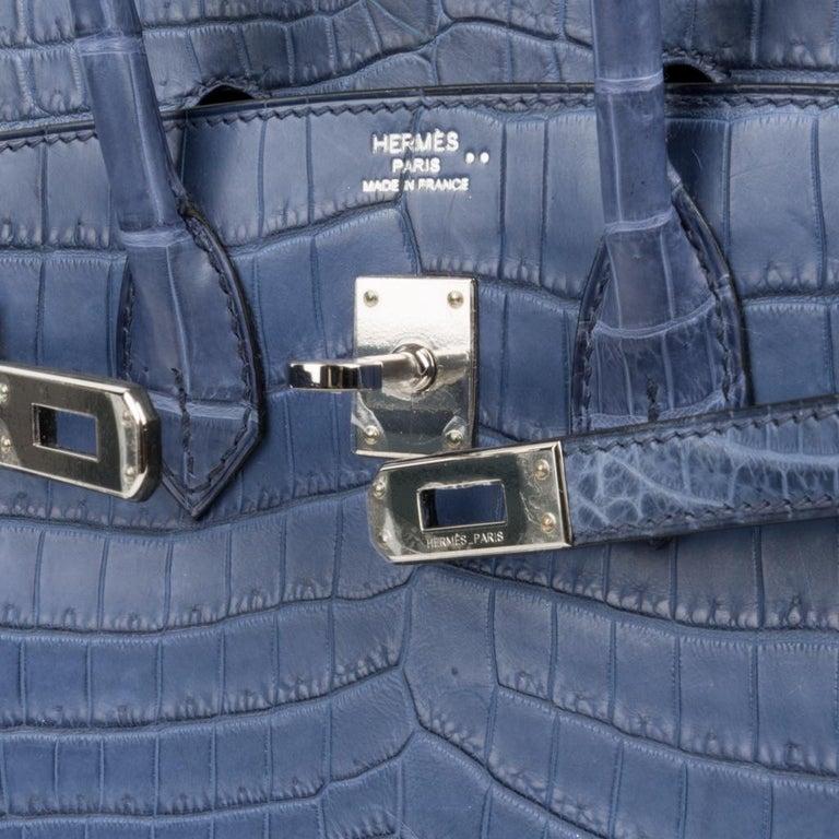Hermes Birkin 25 Bag Blue Brighton Matte Crocodile Palladium Hardware For Sale 2