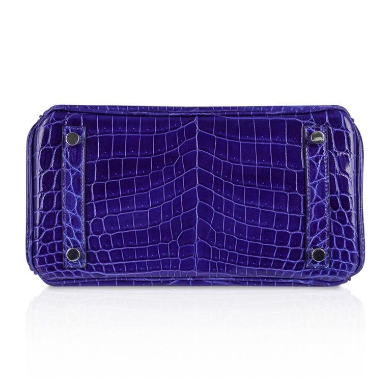 Hermes Birkin 25 Bag Blue Electric Crocodile Vivid Jewel Palladium Hardware For Sale 6