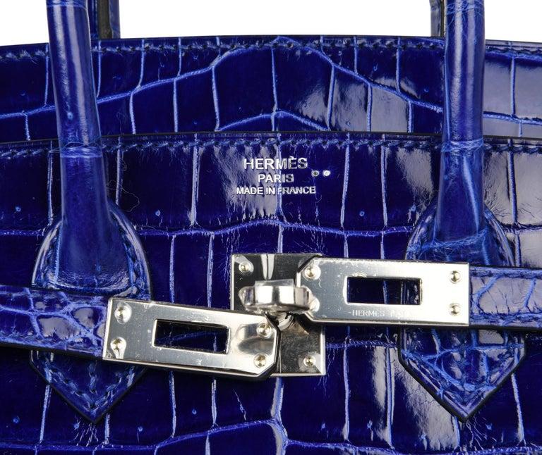 Hermes Birkin 25 Bag Blue Electric Crocodile Vivid Jewel Palladium Hardware In New Condition For Sale In Miami, FL