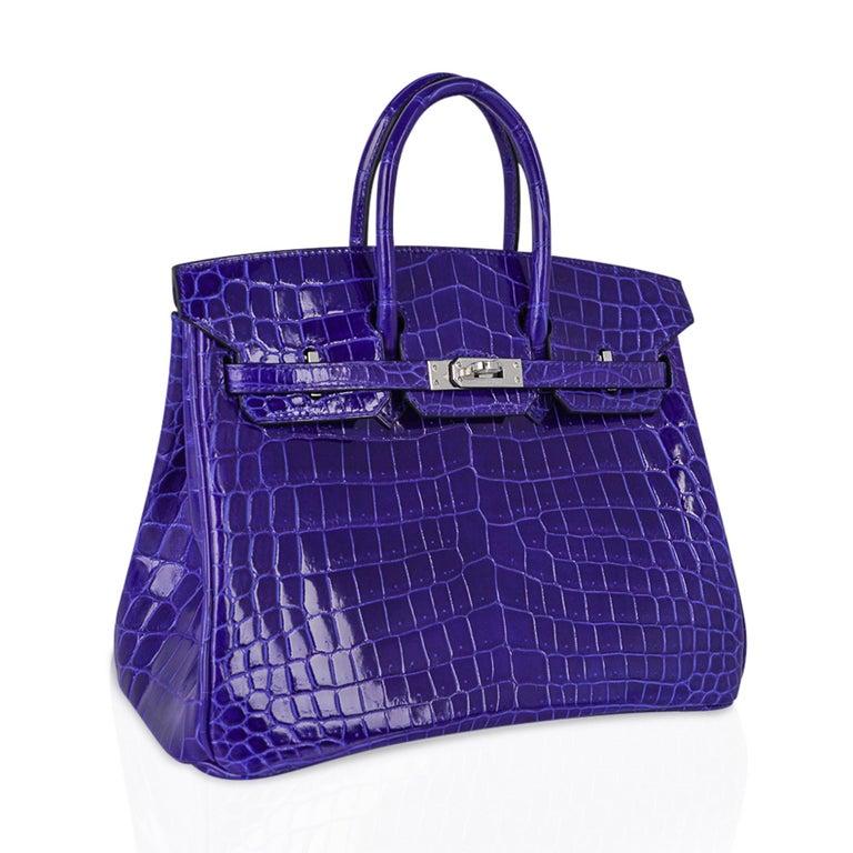 Hermes Birkin 25 Bag Blue Electric Crocodile Vivid Jewel Palladium Hardware For Sale 1