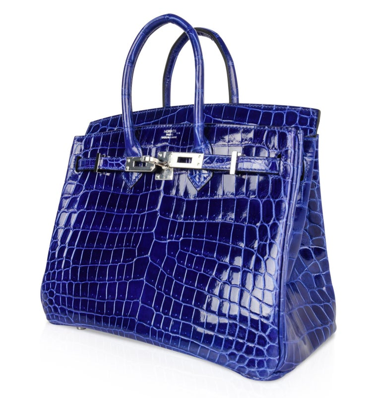Hermes Birkin 25 Bag Blue Electric Crocodile Vivid Jewel Palladium Hardware For Sale 2