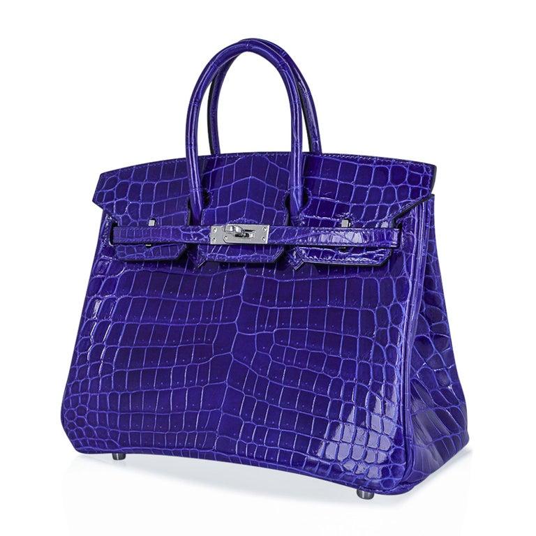 Hermes Birkin 25 Bag Blue Electric Crocodile Vivid Jewel Palladium Hardware For Sale 3