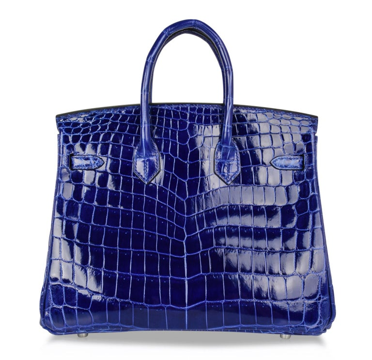 Hermes Birkin 25 Bag Blue Electric Crocodile Vivid Jewel Palladium Hardware For Sale 4