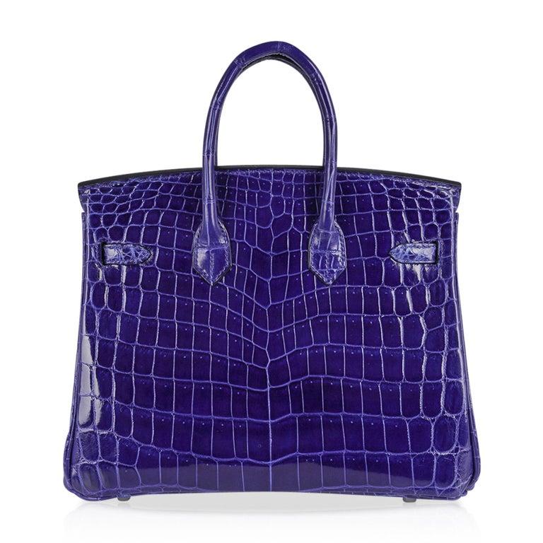 Hermes Birkin 25 Bag Blue Electric Crocodile Vivid Jewel Palladium Hardware For Sale 5