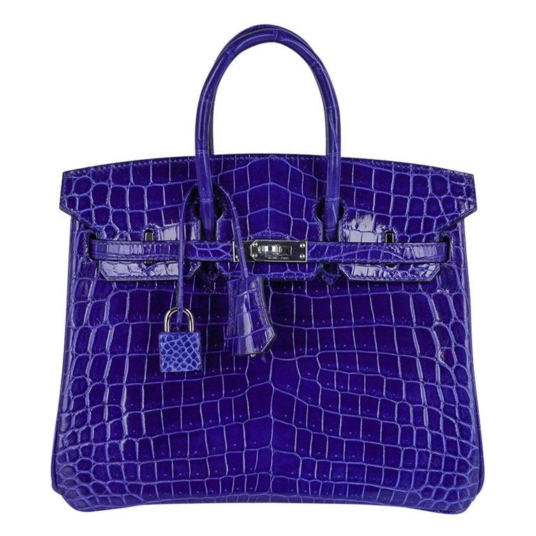 Hermes Birkin 25 Bag Blue Electric Crocodile Vivid Jewel Palladium Hardware For Sale