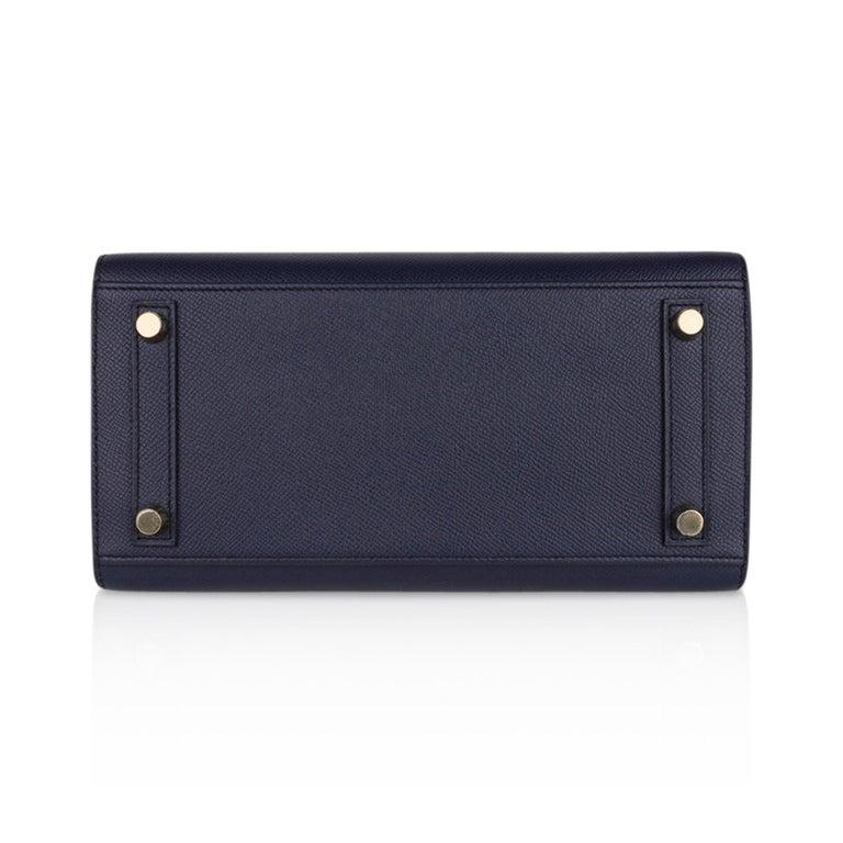 Hermes Birkin Sellier 25 Bag Blue Indigo Gold Hardware Epsom Leather New w/Box 5