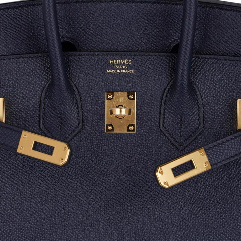 Black Hermes Birkin Sellier 25 Bag Blue Indigo Gold Hardware Epsom Leather New w/Box