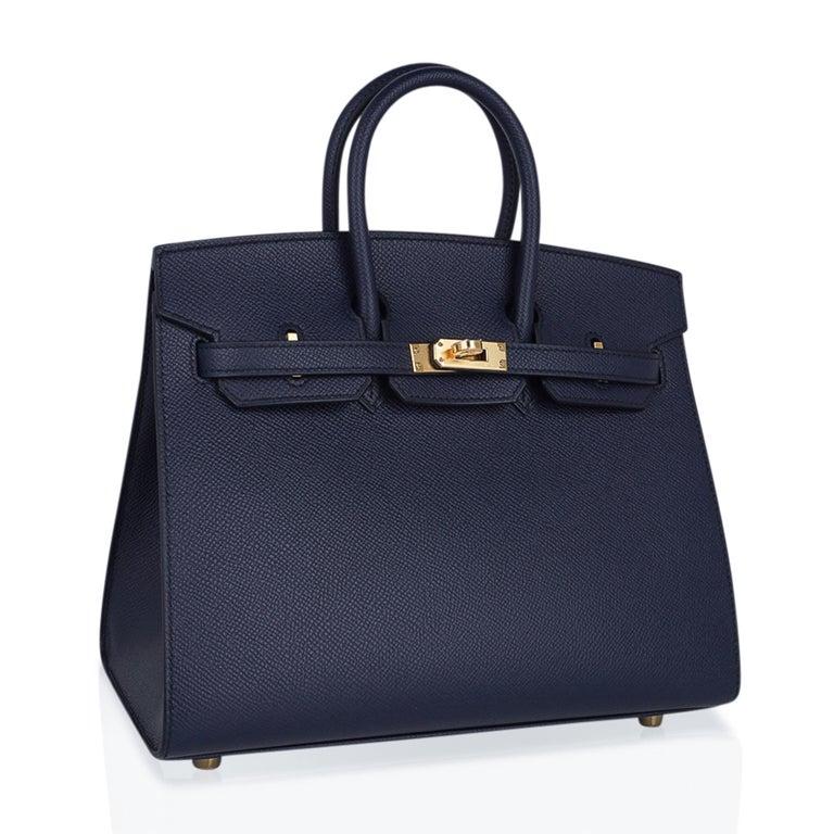 Women's Hermes Birkin Sellier 25 Bag Blue Indigo Gold Hardware Epsom Leather New w/Box