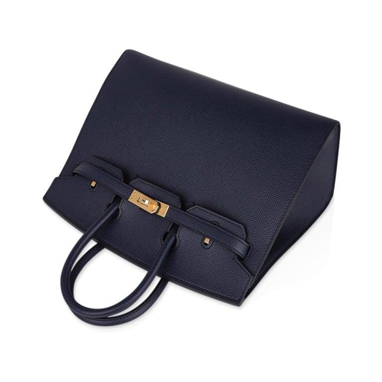 Hermes Birkin Sellier 25 Bag Blue Indigo Gold Hardware Epsom Leather New w/Box 1