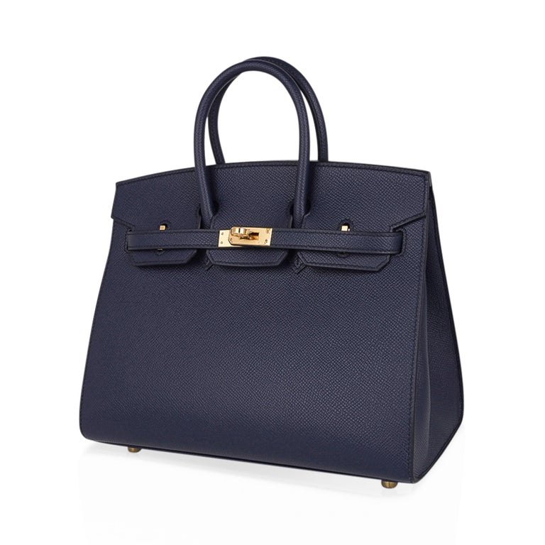 Hermes Birkin Sellier 25 Bag Blue Indigo Gold Hardware Epsom Leather New w/Box 2
